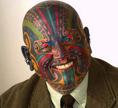 a full tribal face tattoo.