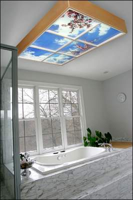 Skyceilings Are Photographic Illusions Of Real Skies That Fit Into Standard Ceiling Grid Systems Luminous Feature Fluorescent Or Led Lighting
